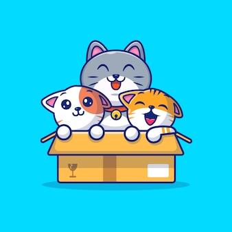 Chats mignons jouent dans la boîte cartoon icon illustration. concept d'icône animale isolé. style de dessin animé plat