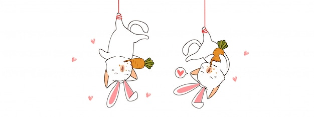 Les chats mignons de lapin mangent l'illustration de la carotte