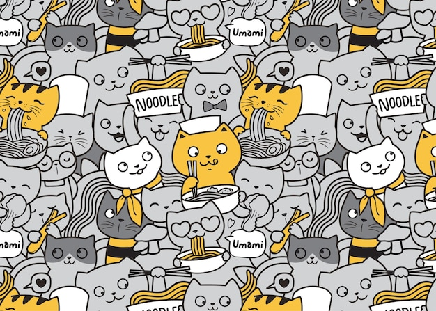 Chats mignons mangeant le fond de griffonnage de modèle de nouilles ramen