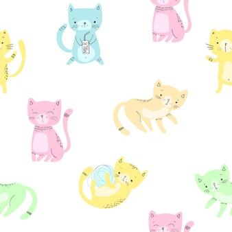 Chats mignons. modèle sans couture de dessin animé. vecteur eps 10