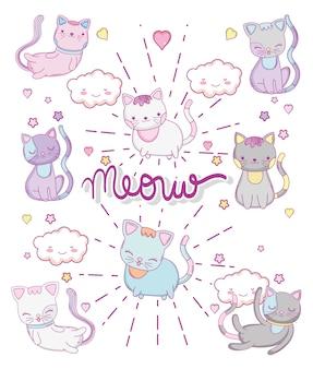 Chats mignons avec nuages et herts kawaii