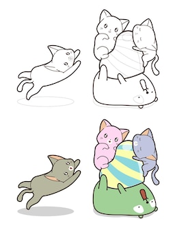 Chats mignons et ours avec grand dessin animé de bonbons en forme de coeur coloriage pour les enfants