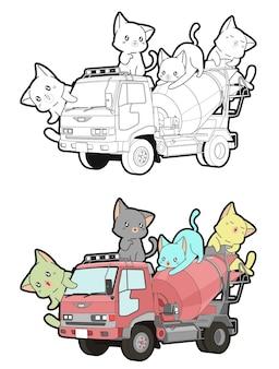 Chats mignons sur la page de coloriage de dessin animé de camion pour les enfants
