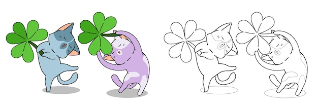 Chats mignons avec la page de coloriage de dessin animé de feuille de couverture