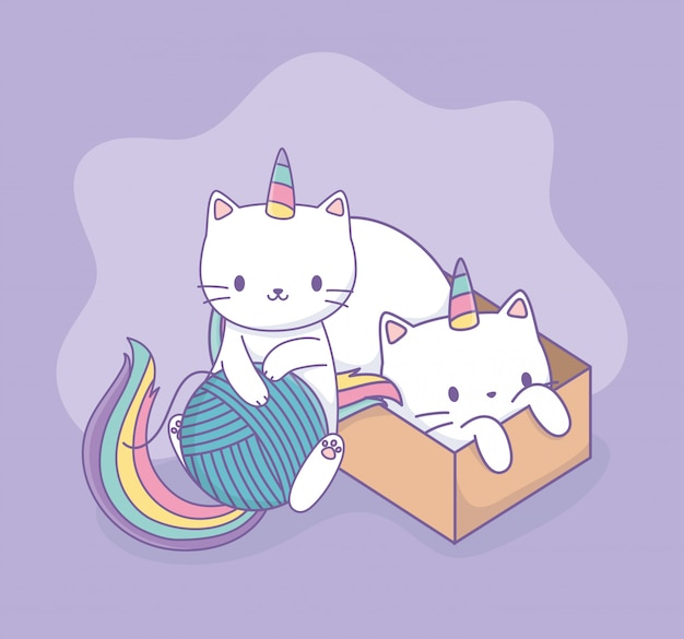 Chats mignons avec personnages kawaii en queue d'arc et boîte en carton