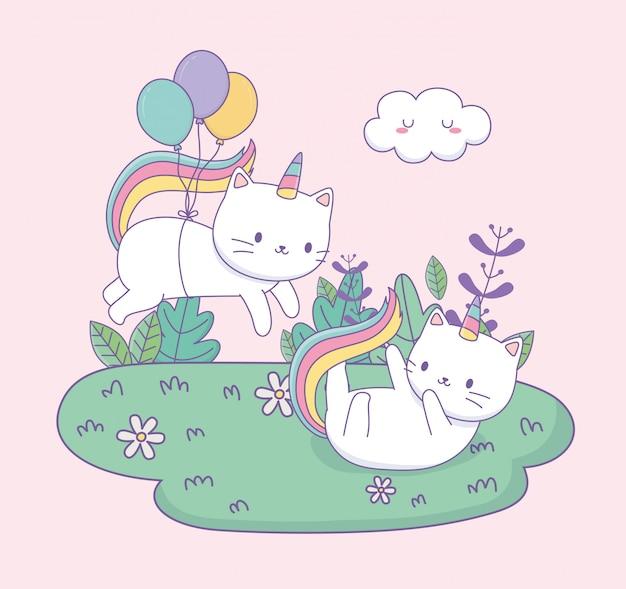 Chats mignons avec queue arc-en-ciel et ballons personnages kawaii à hélium