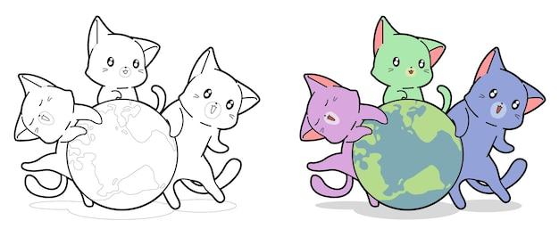 Les chats mignons sont autour de la page de coloriage de dessin animé de mot pour les enfants