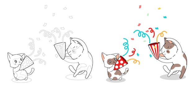 Les chats mignons sont heureux dans la page de coloriage de dessin animé de fête