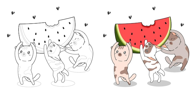 Les chats mignons soulèvent la grande page de coloriage de dessin animé de pastèque