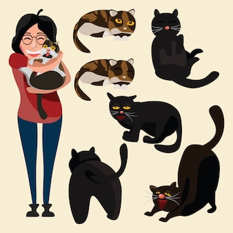 Chats mis en illustration vectorielle