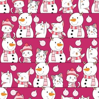 Chats de modèle sans couture avec bonhomme de neige