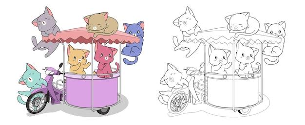 Chats et moto avec la page de coloriage de dessin animé de side-car