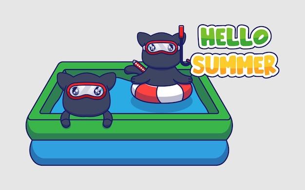 Chats ninja mignons avec bannière de voeux d'été bonjour