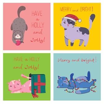 Chats de noël, illustrations de joyeux noël de garçon et de fille étreignant des chats, jeune avec un animal de compagnie embrasse le portrait dans un style cartoon plat.