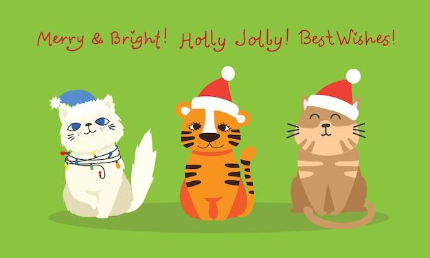 Chats de noël joyeux noël illustrations de tigre et de chats dans un style cartoon plat