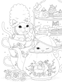 Chats noirs et blancs ayant le thé de l'après-midi britannique, pour la coloration