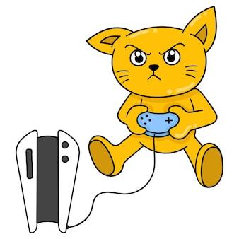 Les chats ont pour passe-temps de jouer à des jeux playstation, art d'illustration vectorielle. doodle icône image kawaii.