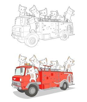 Chats sur la page de coloriage de dessin animé de camion de pompier pour les enfants