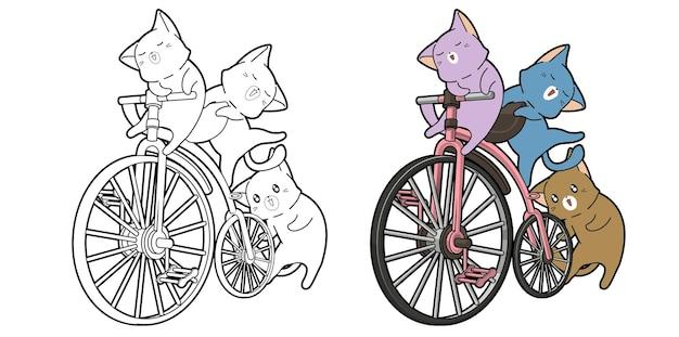 Chats avec la page de coloriage de dessin animé de vélo vintage