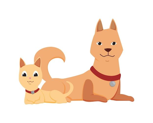 Chats et personnages de chiens isolés sur blanc