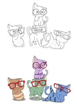 Les chats portent des lunettes de coloriage de dessin animé