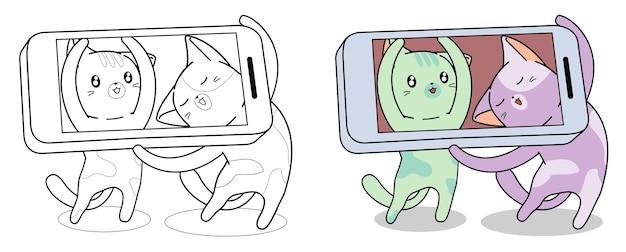Les chats prennent une photo via la page de coloriage de dessin animé de téléphone intelligent