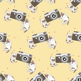 Chats sans couture avec motif de caméra