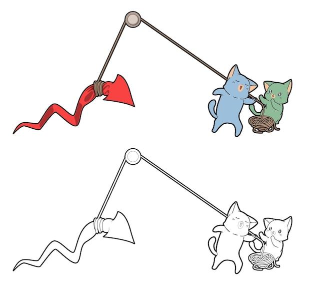 Les chats soulèvent la page de coloration de dessin animé de flèche