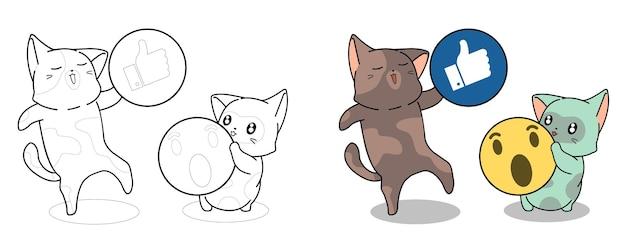Les chats tiennent la page de coloriage de dessin animé icône pour les enfants