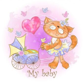 Chatte maman avec un bébé dans une poussette. mon bébé. douche de bébé.