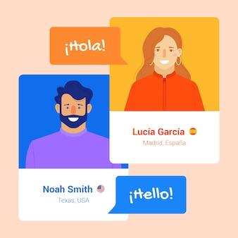 Chatter dans différentes langues