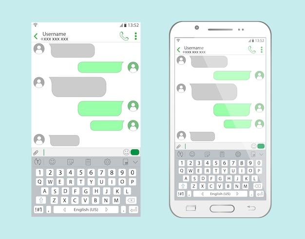 Chattez sur smartphone. l'interface de la correspondance.