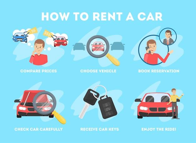Chaud pour louer une instruction de voiture. service de transport