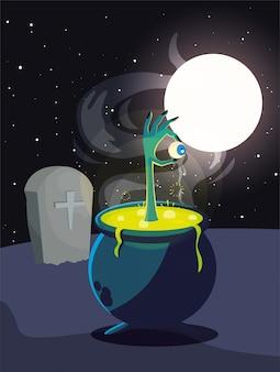 Chaudron bouillonnant de sorcière dans une scène de cimetière