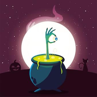 Chaudron bouillonnant de sorcière en scène d'halloween