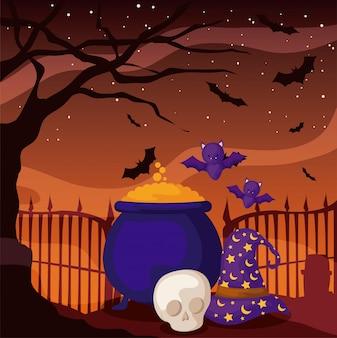 Chaudron bouillonnant de sorcière sur la scène d'halloween
