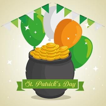 Chaudron de jour st patrick avec pièces de monnaie et ballons
