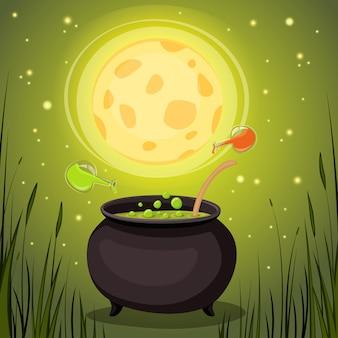Chaudron avec potion magique dans une forêt sombre