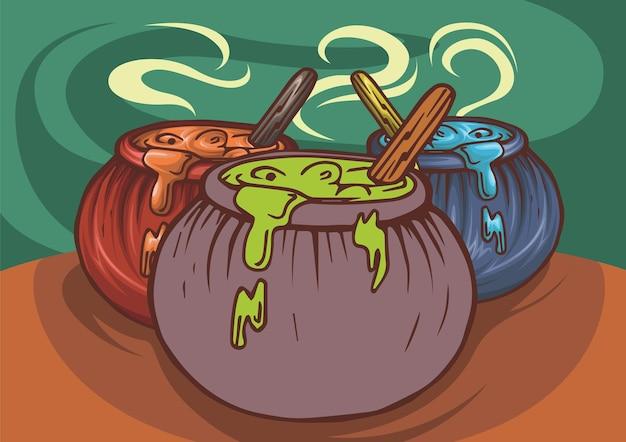 Chaudron de sorcière avec main de potion magique bouillante bleue et rouge et fumée ancienne chaudière de cuisson
