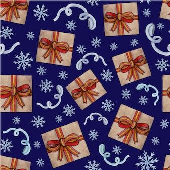Chaussette de noël pattern.watercolor, cannelle, mandarine, cadeau, canne en bonbon et étiquette avec arbre de noël