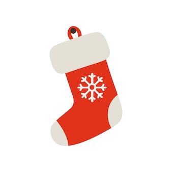 Chaussette rouge de noël avec flocon de neige