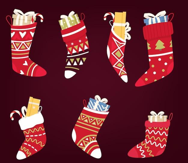 Chaussettes de noël avec des chaussettes de bonbons
