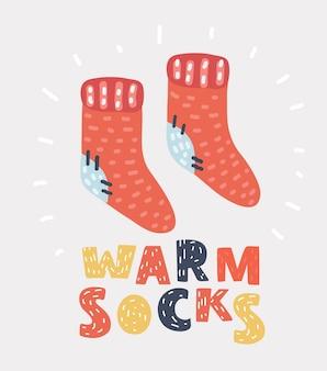 Chaussettes en tricot de laine rouge
