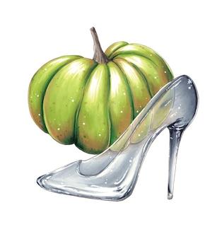 Chaussure en cristal de cendrillon et citrouille