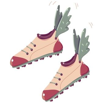 Chaussure de piste avec illustration de dessin animé de vecteur d'ailes isolée sur fond blanc.