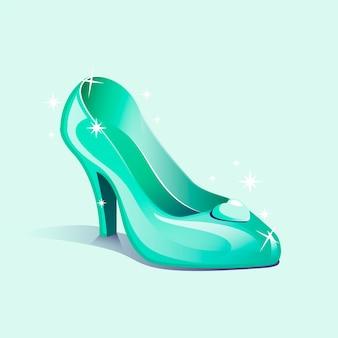Chaussure en verre de cendrillon design illustré