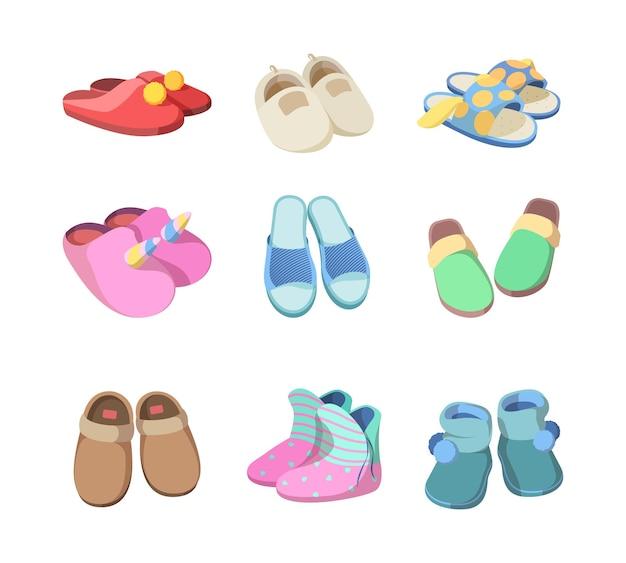 Chaussures colorées. pantoufles souples textiles accessoires de chambre d'hôtel façonnés sandales à la maison de confort pour homme et femme vecteur. illustration de chaussures souples, pantoufles confortables