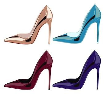 Chaussures en cuir verni doré de couleur