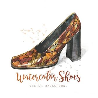 Chaussures de fond d'aquarelle