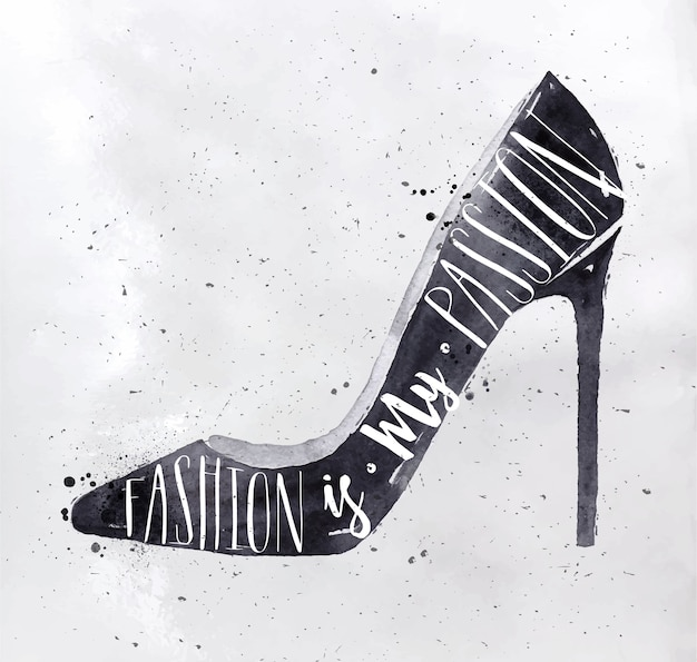 Les chaussures hautes pour femmes en lettrage de style rétro sont ma passion du dessin